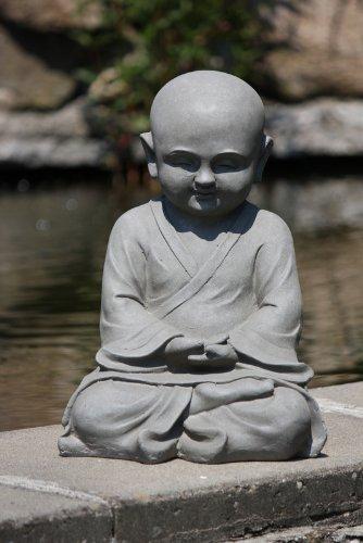 Figur Shaolin Mönch Meditationsgeste – für Haus und Garten – Höhe 42 cm – grau - 3