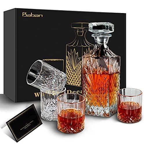 Baban Whiskey Decanter Set, Elegant Wine Decanter Set with Glass for Men & Women, 750ml Whiskey Crystal Liquor Decanter and 4x310ml Whiskey Glass, Birthday Drinking Set Gift for Alcohol Lover