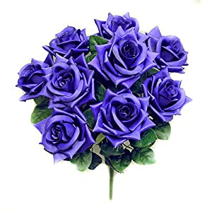 Admired By Nature 9 Stems Artificial Full Blossoms Rose Bush for Home, Wedding, Restaurant & Office Decoration Arrangement, Purple, 2 Pieces