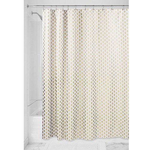 iDesign Diamond Duschvorhang Textil pflegeleicht   dekorativer Duschvorhang aus Stoff mit verstärkten Löchern   Badewannenvorhang im Gold-Design   Polyester gold