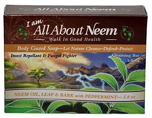 Neem Bark Body Guard Deep Cleansing Bar - Body Shampoo Bar Soap, with Neem Oil, Karanja Oil, Peppermint & Hemp Oil - Made in USA 5 oz