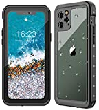 Oterkin iPhone 11 Pro Max Waterproof Case, Full Body Rugged 360° Protective Shockproof Dirtproof Sandproof IP68 Underwater Waterproof Case for 2019 iPhone 11 Pro Max(6.5') (Black/Clear)