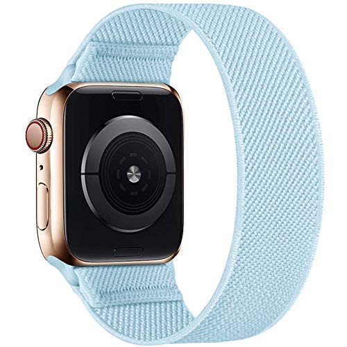 ENJINER Stretchy Nylon Solo Loop Bands Compatible with Apple Watch 38mm 40mm 42mm 44mm iWatch Series 6 SE 5 4 3 2 1 Strap, Sport Elastic Braided No Buckles Clasps Women Men, 38/40mm S Sky Blue