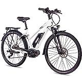 CHRISSON 28 Zoll Damen Trekking- und City-E-Bike - E-Actourus Weiss matt - Elektro Fahrrad Damen - 10 Gang Shimano Deore Schaltung - Pedelec mit Bosch Mittelmotor Performance Line 250W, 63Nm