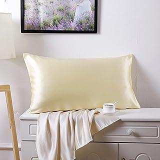 JUWENIN,Luxury Satin Pillowcase with Zipper (Silky Satin Pillow Case for Hair) Set of 2, Beige, Standard