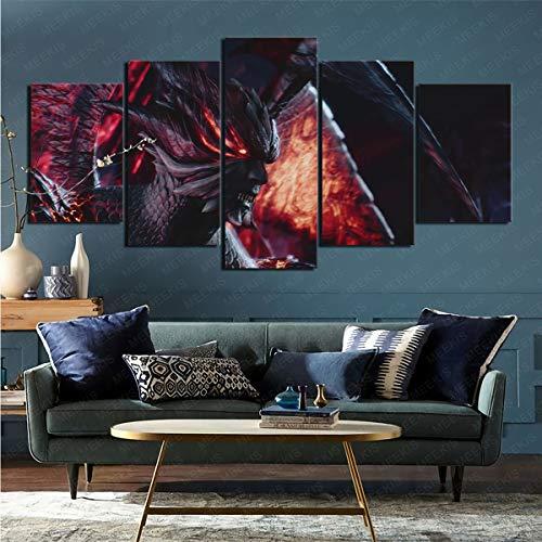 mmkow Pintura acrílica 5 piezas de videojuego Devil May Cry 5 sala de estar artista Hobby pintor 50 x 100 cm (enmarcado)