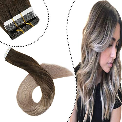 Ugeat 35 cm Glue in Extension Cheveux Naturelles Bande Adhesive Brun Le Plus Fonce Balayage Blonde Cendree #2/18 Remy Hair Seamless Ruban Adhesif Cheveux 100 Gramme 40 Piece