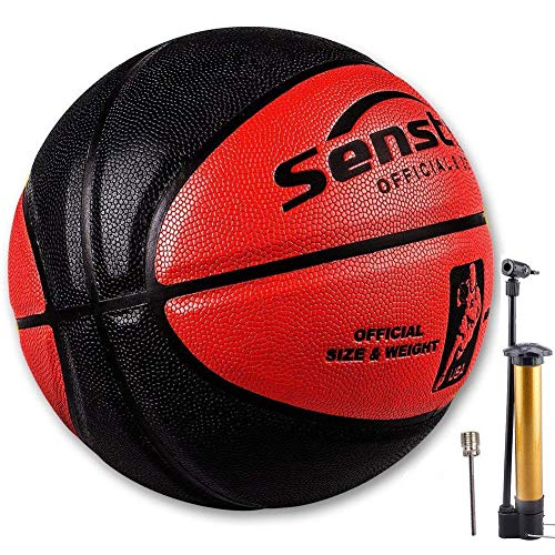Senston Official Basketball 29.5 Outdoor Indoor Mens Basketballs Red Black with Pump Needle Net