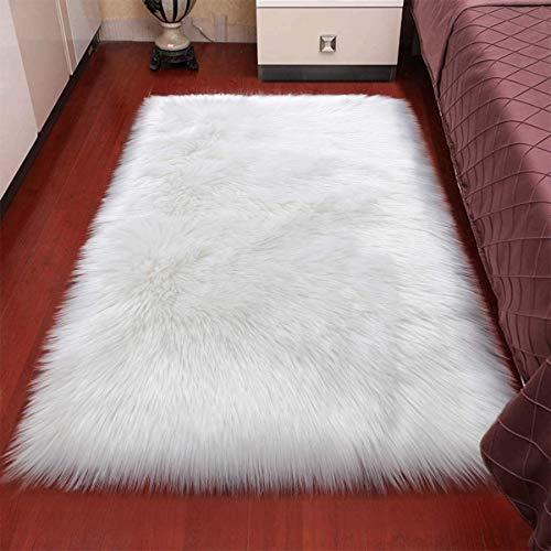 XUDAKJ Piel de Imitación, Artificial Alfombra, mullida excelente Piel sintética de Calidad Alfombra de Lana,Adecuado para salón Dormitorio Cama sofá (Blanco, 50_x_150_cm)
