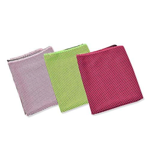 EsuonHappiness クールタオル 3枚セット ひんやり 冷感 冷却 冷たい タオル クールタオル,キュートカラー(P/LG/RR)