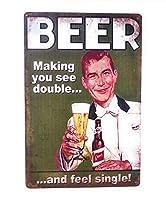 2個 ビールはあなたを二重に見て、シングルメタルのブリキの看板、バーの看板、ビジネスの看板、ビールの看板、パブの看板、クラブの看板、8インチ×12インチの看板を感じさせます| TSC449 | メタルプレート レトロ アメリカン ブリキ 看板