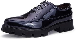Tufanyu メンズビジネスオックスフォードカジュアルファッション快適なポリウレタン軽量で パテントレザーフォーマルシューズ 丈夫 (Color : 青, サイズ : 26 CM)