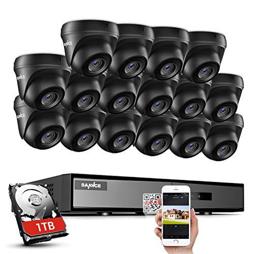 SANNCE Kit de Videovigilancia 1080P DVR 16 Canales con 1TB Disco Duro de vigilancia y 16 Cámaras de Seguridad H.264 CCTV IR LEDs Visión Nocturna Interior/Exterior-1TB HDD