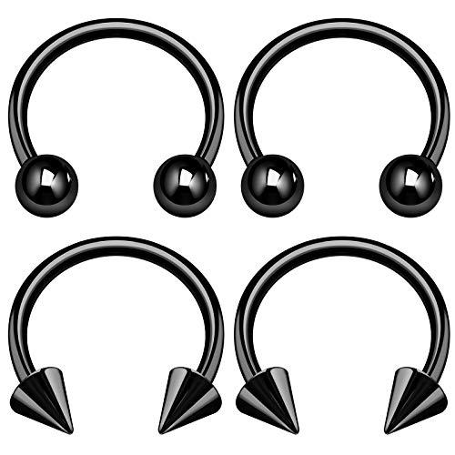 4PCS Surgical Steel Black Horseshoe Earrings 14 Gauge 5/16 8mm 4mm Ball Spike Labret Earrings Eyebrow Piercing Jewelry 2953