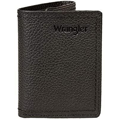 Wrangler Men's Leather Trifold Wallet, black double stitch, One Size