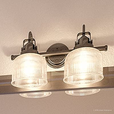 """Luxury Industrial Chic Bathroom Vanity Light, Medium Size: 8.75""""H x 17""""W, with Modern Famrhouse Style Elements, Aged Nickel Finish, UHP2042 from the Harlow Collection by Urban Ambiance"""
