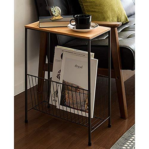 MK Good Tv-lamp, telefoontafel, eikentafel, nachtkastje, bijzettafel, kleine salontafel, hoektafel, ijzer, lang, smalle tafellegger, rek, zwart, 40 x 20 x 50 cm