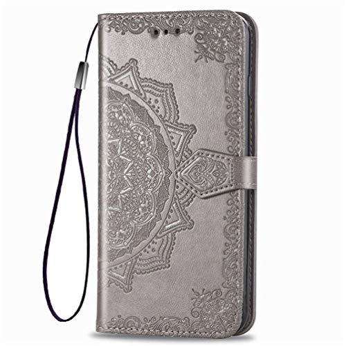 KERUN Hülle für Xiaomi Pocophone F2 Pro Flip Lederhülle, 3D Mandala Muster Geprägte Prägung Handyhülle, Premium Leder Brieftasche Handytasche Schutzhülle mit Kartenfach Standfunktion.Grau