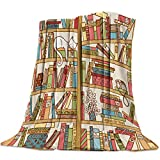 The Cat Sleeping on The Bookshelf Flannel Throw Blanket Super Soft Warm Snuggle Stadium Blanket for Couch Chair Sofa and Bed Everyday Use 49' x 59'
