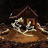 2 Rentiere - Außenbeleuchtung Lichterkette Weihnachtsbeleuchtung - Rentierpaar IP44