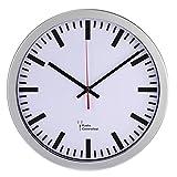 Hama Orologio da parete radiocomandato in stile orologio da stazione ferroviaria (impostazione automatica dell'ora, 30 cm di diametro), colore: argento, vetro
