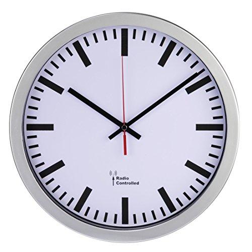 Hama Funk Wanduhr (Große DCF-Funkuhr mit automatischer Zeiteinstellung, Jumbo Uhr mit 30 cm Durchmesser) silber