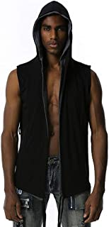 Sponsored Ad - TFNYCT Men's Collar Cardigan Sleeveless Open Front Vest Lightweight Gothic Hooded Cardigan Fashion Sports a...