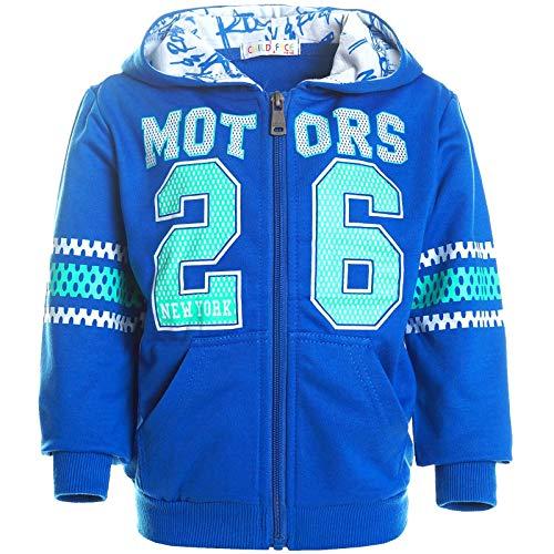 Jungen Kapuzen Pullover Hoodie Pulli Kinder Jacke Sweat-Shirt Sweat-Jacke 21419 Blau 140 (Herstellergrösse 134-140)