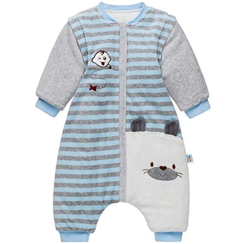 Bebé Saco de Dormir con Piernas Separable Algodón 3.5 Tog Invierno Bolsa de Dormir Mangas Larga Extraíbles para Niños Niñas 2-3 Años