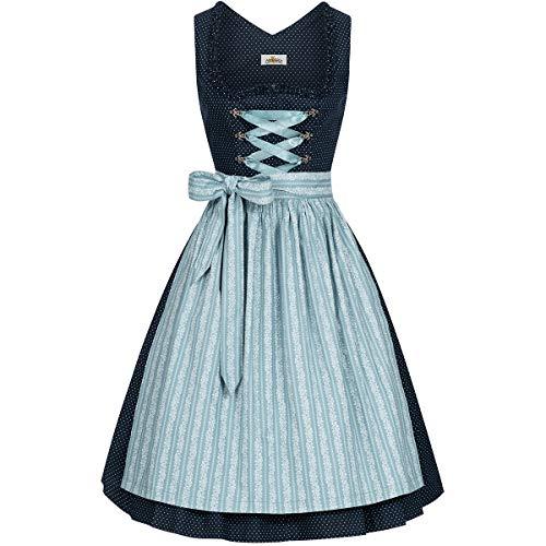 Almsach Damen Trachten-Mode Midi Dirndl Elke in Dunkelblau-Eisblau traditionell, Größe:54, Farbe:Dunkelblau/Eisblau