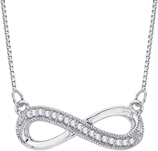 Gold or Sterling Silver Round Diamond Box Chain Milgrain Infinity Pendant (1/20 cttw, J-K Color, SI2-I1 Clarity)
