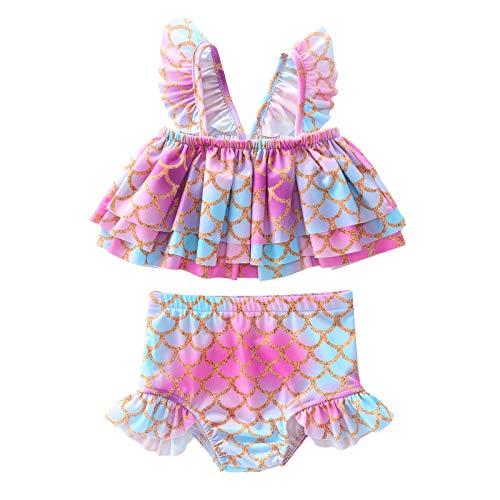 TiaoBug Traje de Baño 2 Piezas Disfraz de Sirena Sirenita para Bebés Niñas Bañador Crop Top + Braguita Tankinis Niñas Playa Vacaciones Rosa 12-18 Meses