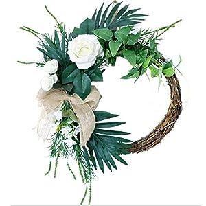 BHSHUXI White Mini Rose Floral Wreath,White Wreath Artificial Silk Green Wreath Rose Flower Garland Wreaths for Year Round Fall Spring Summer Front Door Decor