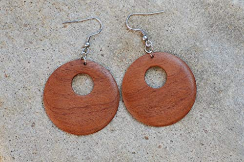 Holzohrringe Ethno // handgemacht // Upcycling // Boho // Recycling // große Holzohrringe // große Ohrringe // Ohrhänger aus Holz // öko Schmuck