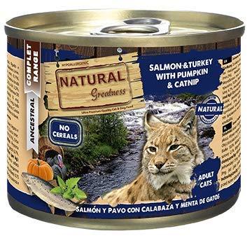 Natural Greatness Comida Húmeda para Gatos de Salmón y Pavo con Calabaza y Menta de Gatos. Pack de 6 Unidades. 200 gr Cada Lata