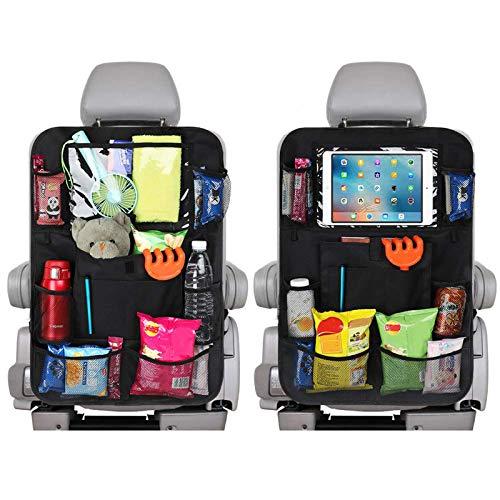 Auto Rücksitz Organisator 2pcs mit 12.7 Zoll Touch Screen Tablette Halter multi Speicher Taschen, Rückenlehnenschutz für Kinder und Kleinkinder