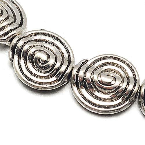 Piezas intermedias de plata tibetana, separadores de perlas de metal de 11 mm, 19 piezas en espiral, 1 cordón de cuentas intermedias para manualidades, joyas, cadenas, pulseras, joyas