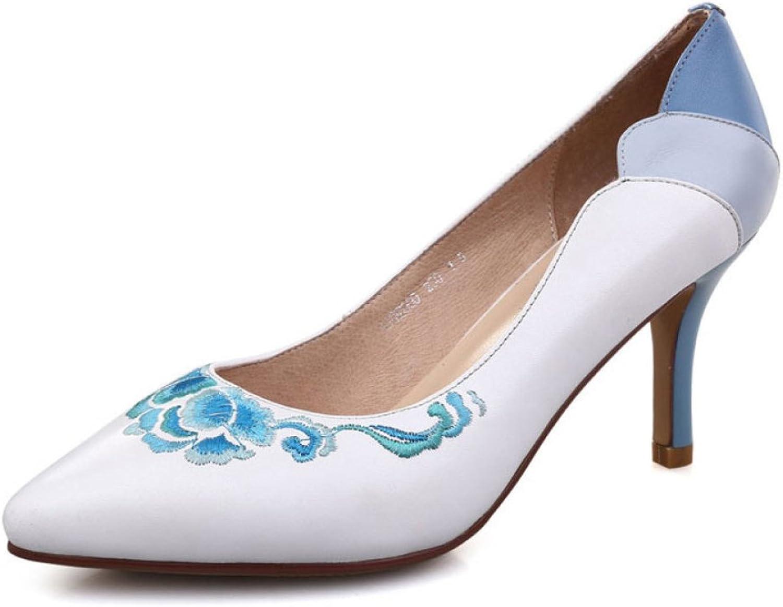 Damen High Heels Ethnische Ethnische Bestickte Damenschuhe Blau und Weiß Gestickte Schuhe  online Shop