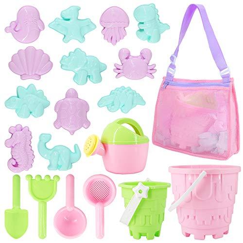 Tagitary Beach Sand Toys Set 20Pcs Beach Toys for Kids 3-10 Kid Sand Toy with Beach Bucket Watering Can Shovel Rake Sand Molds Beach Shell Bag