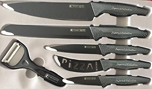 Imperial Collection Professional Kitchen Knives – 6Pcs Stainless Knife Set with Black Carbon Fiber Design Handle – Chef Knife, Pizza Knife, Slicer, Utility, Paring Knives with Ceramic Peeler - Black