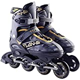 Children's Single Row Roller Skates, Inline Skates for Men and Women, Suitable for 8 to 15 Years Old, Adjustable Inline Outdoor Skates(Size:37-US:6)
