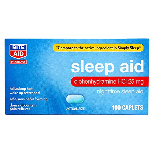 Rite Aid Nighttime Sleep Aid Mini Caplets - 100 Caplets | Non-Habit Forming Sleep Supplement