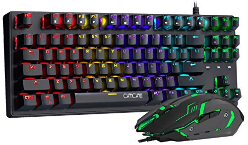 CHONCHOW Mechanical Gaming Keyboard and Mouse Combo TKL 87 Keys Blue Switches Rainbow RGB Backlit Keyboard and 6 Buttons Gaming Mouse Value Combo for PS4 PC Windows