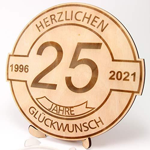 KASA – Regalo per 25° compleanno, anniversario, disco in legno inciso, 30 cm, con scritta 1996-2021