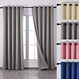 qinuo Home Alaska Thermal Insulated Grommet to Blackout Curtains including Two Matching Ties Set of 2paneles, plata, 46'X54'