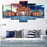 QZWXEC Alemania Paisaje de berlín/ 5 Piezas Impresiones en Lienzo Impresión Lienzo Artística Dormitorios Modernos Decoración de Pared Cuadros XXL Pintura Modular - Ancho: 150Cm, Altura: 80Cm