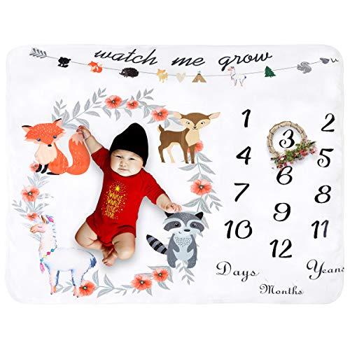 Manta de forro polar para bebé, diseño de hito mensual, extragrande, ideal como regalo para una sola y dos personas Animal Flower