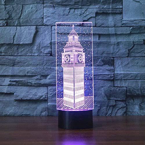 Nachtlicht Exquisite bunte exquisite bunte 3D Nachtlicht Nachtlicht Led Rutsche Big Ben London Gebäude Kinder Paar Familie bedr