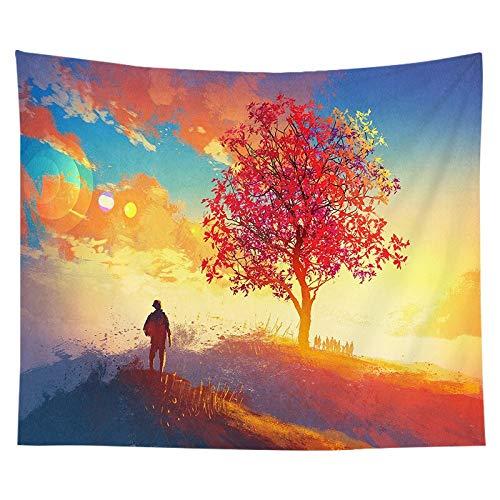 N / A Baum Landschaft Tapisserie Wandbehang Polyester Japanische Hippie Tapisserie Dekoration Wandverkleidung Mond Sonnenaufgang Ölgemälde Home Dekoration Tapisserie A9 180x230cm