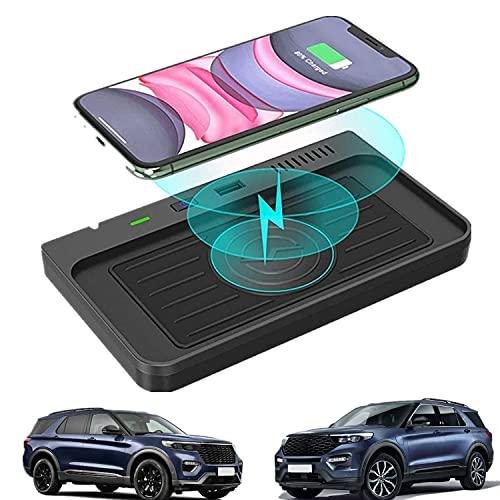 Paobiy Adecuado para Ford Explorer 2020 2021 cargador inalámbrico de coche consola central, 15 W Qi carga rápida teléfono cargador pad con 18W QC3.0 USB para iPhone 8/11/Pro/X/XR Samsung Note S 8/9/10